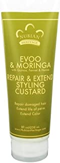 Nubian Heritage Extra-Virgin Olive Oil and Moringa Repair and Extend Styling Custard, 8 Ounce