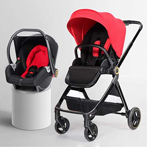 Affordable 3 in1 Baby Stroller Carriage Compact Pram Stroller (Color : Black, Size : A) (Color : Red...