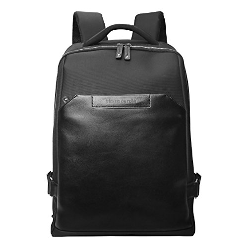 Pierre Cardin Genuine Leather Korean Nylon Fabric Backpack for Laptops...