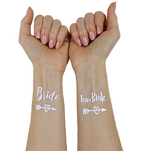 Victoris Team Bride Tattoo Junggesellinnenabschied JGA Bridesmaid Henna Gold Accessoire (Silber)