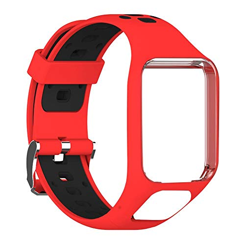zebroau Correa de Silicona de Repuesto para Reloj Deportivo, Correa de Reloj de Silicona Suave, Correa de Reloj con Orificios Transpirables, para Tomtom 2 3 Runner 2 3 Spark 3 GPS Watch