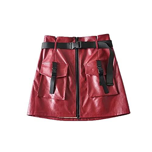 XIGUAK Minifalda de Primavera para Mujer, Falda Corta de Cuero PU sin deformar, Bolsillos con Cremallera, decoración de Cintura Alta, Falda Acampanada de Motociclista