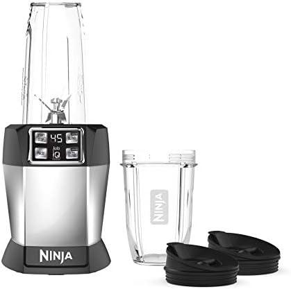 Ninja Batidora personal BL480D Nutri 1000 Watt Auto-IQ para jugos, batidos y licuados, 18 y 24 oz, negro / plateado