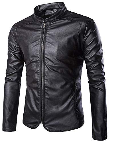 ZiXing Herren Lederjacke Cleane Leichte Basic Jacke aus Weichem Schafs-Leder Schwarz S