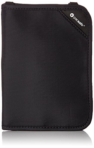 Pacsafe Rfidsafe V150 Anti-Theft RFID Blocking Compact Passport Wallet, Black, One Size
