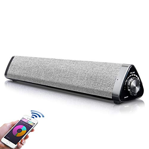 Barra de Sonido, Fityou Altavoces PC Sobremesa 10W Bluetooth 5.0 Altavoz con Cable e Inalámbrico Altavoz Recargable estéreo con alimentación USB para TV/Smartphones/Ordenador por USB-DAC/USB/TF