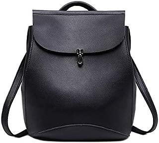 GulfDealz Women's Casual Elegant Backpack Shoulder bag, PU Leather - Black