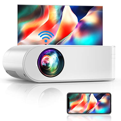 "YABER V2 WiFi Mini Projector 6000L [Projector Screen Included] Full HD 1080P and 200"" Supported, Portable Wireless Mirroring Projector for iOS/Android/TV Stick/PS4/PC Home & Outdoor (White)"