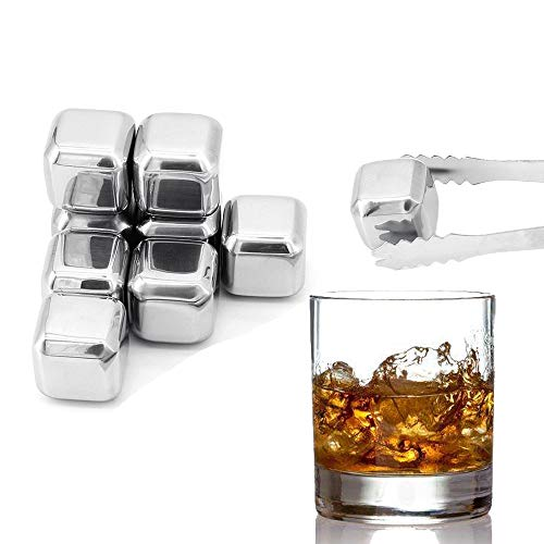 Bemodst Stainless Steel Ice Cubes, 8 Pcs Reusable Ice Cubes Stainless Steel Ice Cube Traywith Tongs for Whiskey Wine Beverage