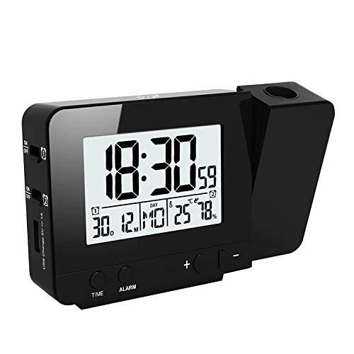 Houkiper LED-Anzeige-Projektor-Uhr mit Hintergrundbeleuchtung Batteriebetriebenen Drehen Wecker für Hauptschlafzimmer (Black)