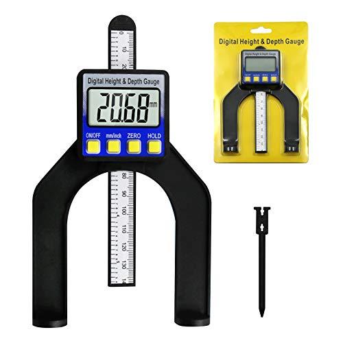 RUIZHI Digital Tiefenmesser Höhenmesser 0-85 mm Profiltiefenmesser LCD Display Digitale Messschieber für Holzbearbeitung ,Maschinenbau mit Magneten