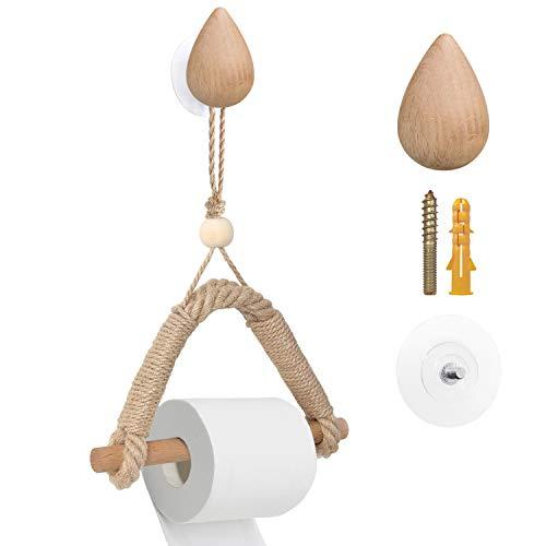 PortarrollosPapelHigienico Madera Cuerda Vintage SinTaladro,Sujetador de Papel Montura de Pared Autoadhesivo para Baño (estilo 2)