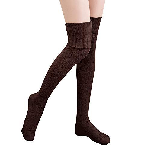 Hitop Oberschenkelhohe Kniestrümpfe für Damen, Mädchen, Winter, warm, gehäkelt, lange Socken, Beinwärmer, Leggings -  Braun -  Einheitsgröße Passen Alle