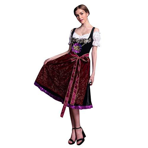 SANNYSIS Dirndlkleid 3 TLG Damen Midi Trachtenkleid für Oktoberfest, Stickerei Kleid Bluse Gürtel Traditioneller Bayer Kostüme Karneval Retro Cosplay Partykleid (L, Wein)