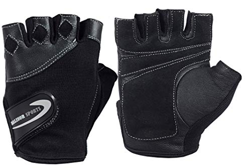 Malinor Sports Premium Quality Weights Lifting Gloves Workout,Exercise Gloves for Weight Lifting, Gym, Training, Breathable & Snug fit, for Men & Women (Black, M)
