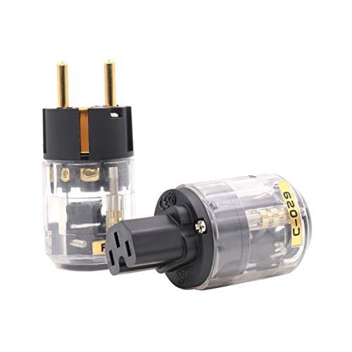 Y-POWER 1Set P-029 Und C-029 Feinkupfer Vergoldet EU-Version Netzstecker Für IEC Audio Connector Netzkabel Kabelstecker