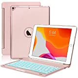 Boriyuan New iPad 10.2 8th Gen 2020/7th Gen 2019 Keyboard Case,Protective Ultra Slim Hard Clamshell Folio Stand Smart Cover with 7 Colors Backlit Bluetooth Keyboard for iPad 10.2 inch (Rose Gold)