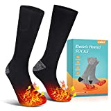 Jomst Upgraded Heated Socks,Rechargeable Battery Heating Socks for Men Women,Winter Warm Cotton Socks Camping/Fishing/Cycling/Motorcycling/Skiing (black1)