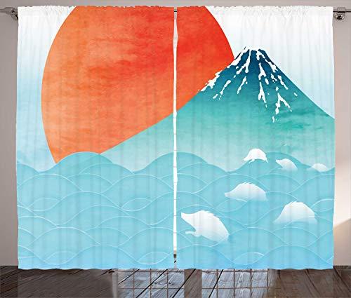 ABAKUHAUS Ola Cortinas, Japonesa de Extremo Oriente Naturaleza, Sala de Estar Dormitorio Cortinas Ventana Set de Dos Paños, 280 x 260 cm, bermellón Seafoam