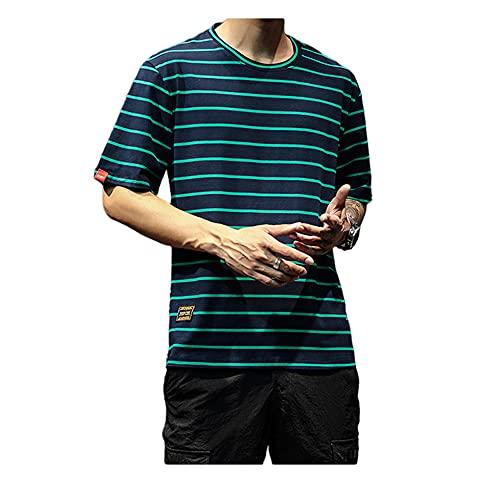 T-Shirt Hombres A Rayas Verano Básico Transpirable Cuello Redondo Hombres Shirt Ocio Estilo Hip Hop Diseño...