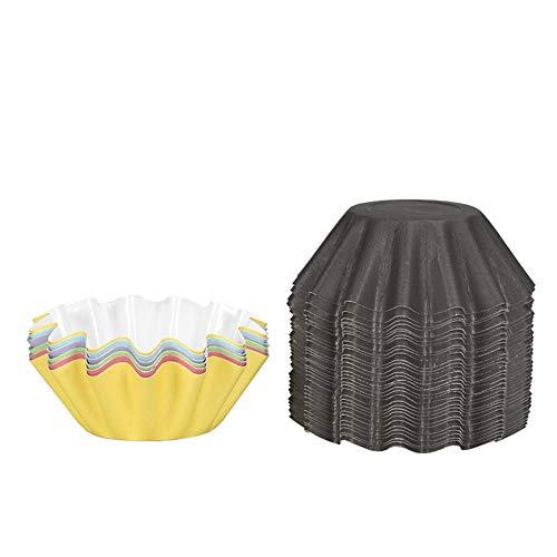 XJF 100 tazas de papel para tartas, moldes de magdalenas en forma de flor, mecanismo de alta temperatura para pan de tarta, color al azar