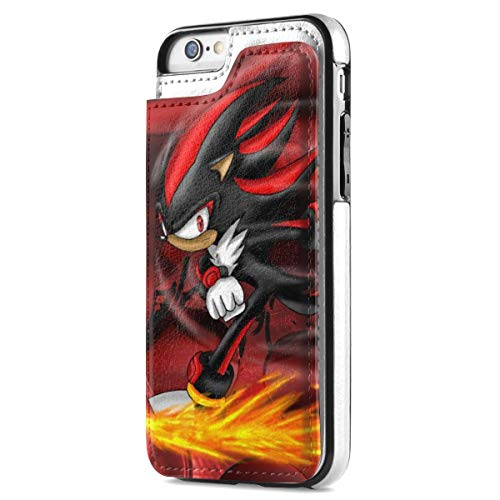 Shadow Hedgehog iPhone 7/8 Wallet Case, iPhone 7/8 Case, Raised Screen Protector, Double Magnetic Clasp and Durable Shockproof Cover, PU Leather Case with Card Slots for iPhone 7/8