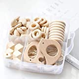 Mamimami Home 1PC Baby Teether Holz Diy Tier Rassel organischen Teether Dschungel Spielzeug Holz Waldorf Spielzeug Holz Teether Halskette/Armband DIY Zubehör