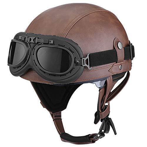 GAOZH Vintage-Look Leder Motorrad Jethelm,offener Mopedhelm Oldtimer Urban Style,Street Jet-Helm Roller-Helm Scooter-Helm,mit Visier,für Erwachsene Männer und Frauen,ECE-Zulassung