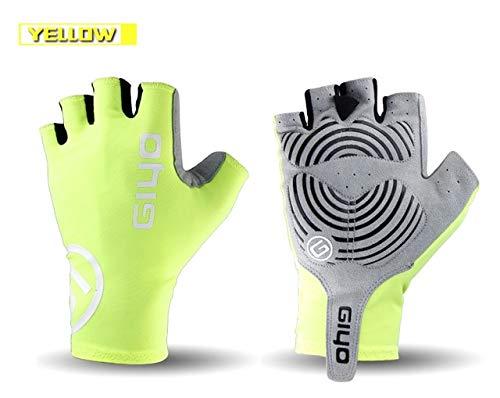 MYSdd Fahrrad Halbfingerhandschuhe Gel Sport Bike Race Handschuhe Mountainbike Rennrad Handschuhe Bike Herren Mid Damen - Gelb X XL