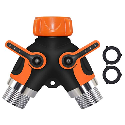 Upgrade 2 Way Garden Hose Splitter, Splitter Valve for Garden Hose with Heavy Duty Brass Garden Hose Outlet Splitter with Extra 2 Washers (Orange)