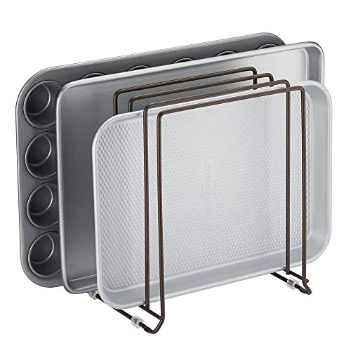 mDesign Pot Deksel en Pan Rack — Metalen draadrek voor kasten, pantries of keukenoppervlakken — Vrijstaande pannenstandaard met 5 sleuven voor pannen, pannen, deksels en serviesgoed Brons