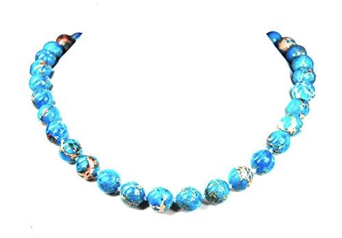 Fine necklace made of lovely blue Sea Sediment Jasper gemstone (Marine Sediment) ball-shaped L-48 cm D-12 mm, very beautiful