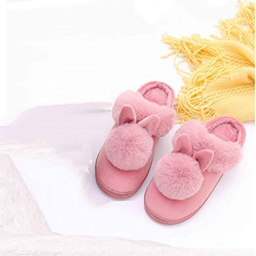 SLM-max Zapatillas Unisex,Orejas de Conejo Planas para Mujer, Bonitas de Felpa, Otoño Invierno, de algodón, de Interior para el hogar, Zapatos cálidos, rosa-40-41