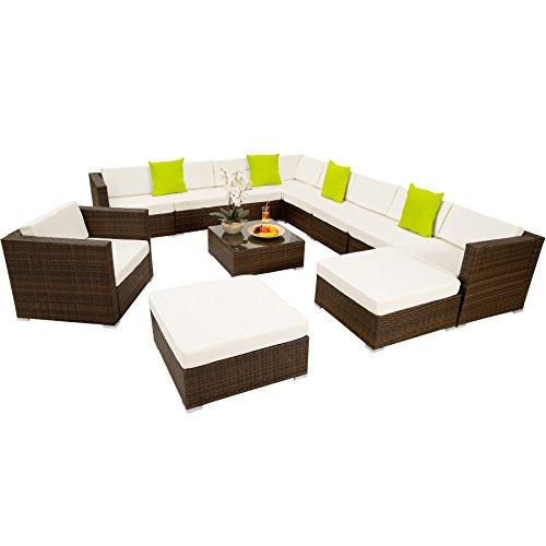 TecTake Hochwertige XXL Aluminium Poly-Rattan Lounge Sitzgruppe Set inkl. Klemmen - Diverse Farben - (Schwarz-Braun   Nr. 401509)