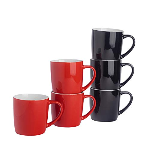 Argon Tableware Tasses à thé/café en céramique - coloré/Moderne - 340 ML - Rouge/Noir - Lot de 6