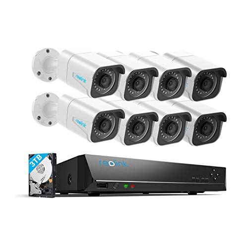 Reolink 4K 16CH PoE Security-Camera-System H.265, 8pcs 8MP PoE IP Security Cameras Outdoor, 16-Channel NVR 8MP with 3TB HDD, 24/7 Video Surveillance and Recording for Home and Business, RLK16-800B8