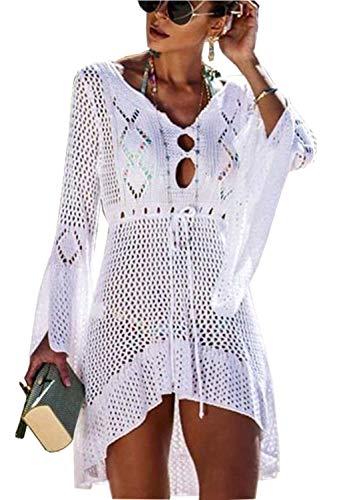 Orshoy Damen Boho Bikini Cover Up Strandkleid Sommerkleid Badeanzug lose Casual Strandkleid V-Ausschnitt Strand Bikini Badeanzug Strand Weiß
