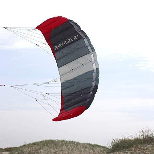 Wolkenstürmer® Paraflex Basic 2-Leiner Lenkmatte 2.1 SE grau - Kite Drachen mit Flugschlaufen – Zweileiner Lenkdrachen - Flugdrachen für Anfänger & Kinder ab 6 Jahren
