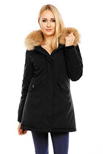 Husaria Damen XXL Echtfell Winterjacke mit Kapuze Mantel Rot Grau Schwarz Dunkelblau Parka Jacke Fell Pelz 6015 (Schwarz, XL)