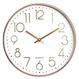 Reloj de Pared Moderno Grandes Decorativos Silencioso Interior Reloj de Cuarzo de Cuarzo Redondo No-Ticking para Sala de Estar para Cocina, Oficina, Dormitorio, Aula (30 cm, Color Oro Rosa)