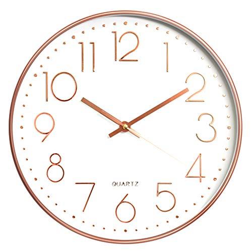 Aischens 12 Zoll Modern Quartz Lautlos Wanduhr, Nicht tickende arabische Ziffernuhr Runde dekorative Uhr, für Wohnzimmer, Schlafzimmer, Küche, Büro (Rosegold)