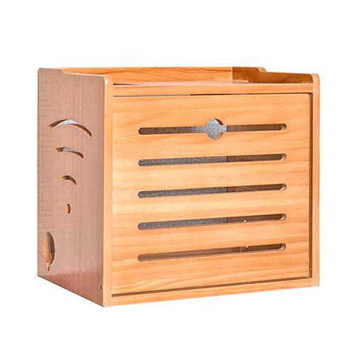 TRFBC Multimedia Set-Top Box WiFi Router Caja de Almacenamiento, Caja de Almacenaje para Regletas Enchufes de Madera Sólida, para Escritorio, Hogar y Oficina #4