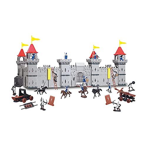 Castillo de caballero grande con figuras del reino del castillo (variante B, caballeros en plata-negro-plata-azul).