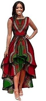 Yeshire Womens African Print Sleeveless High Low Dashik Formal Prom Peplum Flare Midi Party Dress X-Large Red