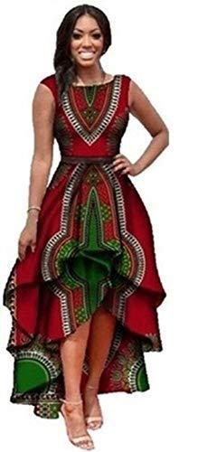 Yeshire Womens African Print Sleeveless High Low Dashik Formal Prom Peplum Flare Midi Party Dress XX-Large Red
