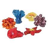 decorazioni multicolore per acquario di ueetek, finto corallo nascondiglio, stella marina artificiale, ornamento o decorazione per acquario, 6 pezzi