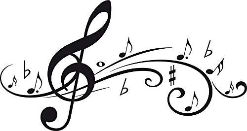 GRAZDesign Wanddekoration Wanddeko Geschenk Musiknoten - Musiker Geschenkideen Musikzimmer - Wandtattoo Fliegende Musik-Noten / 94x50cm / 070 schwarz