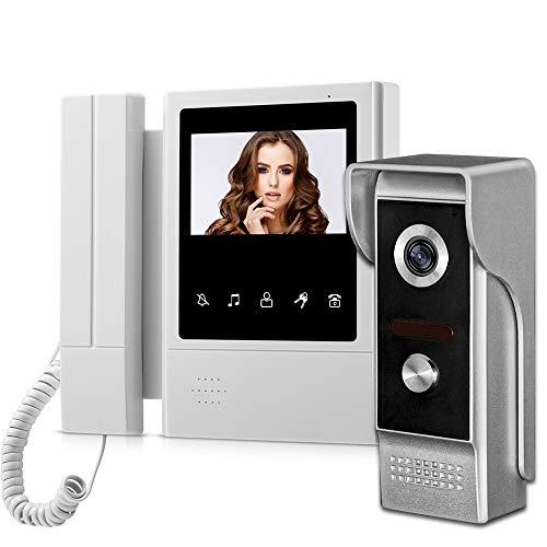 uoweky Hand Held 4.3'Monitor de Pantalla Videoportero Sistema de Teléfono de la Puerta Timbre de la Puerta Cámara Impermeable Desbloqueo Monitor Intercom