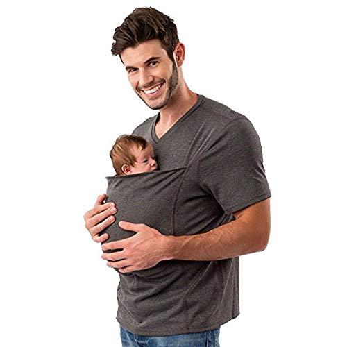 Canguro Cuidado Papá Cómodo Corta Manga Camisa Polo Bebé Envolver Camiseta Abrigo...