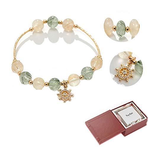 APCHY Mujeres Lucky Ship Rudder Crystal Bracelet Mori Colgante Pulsera De Cristal De Pelo El Día De Madre Regalo De Cumpleaños De Novia Y El Día De San Valentín